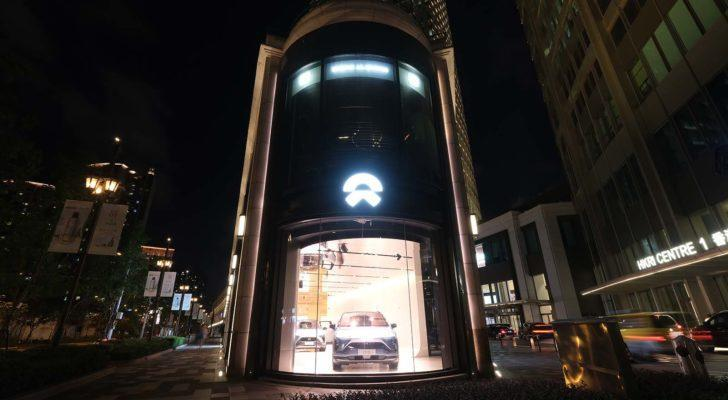 A Nio (NIO) store at night in Shanghai, China.