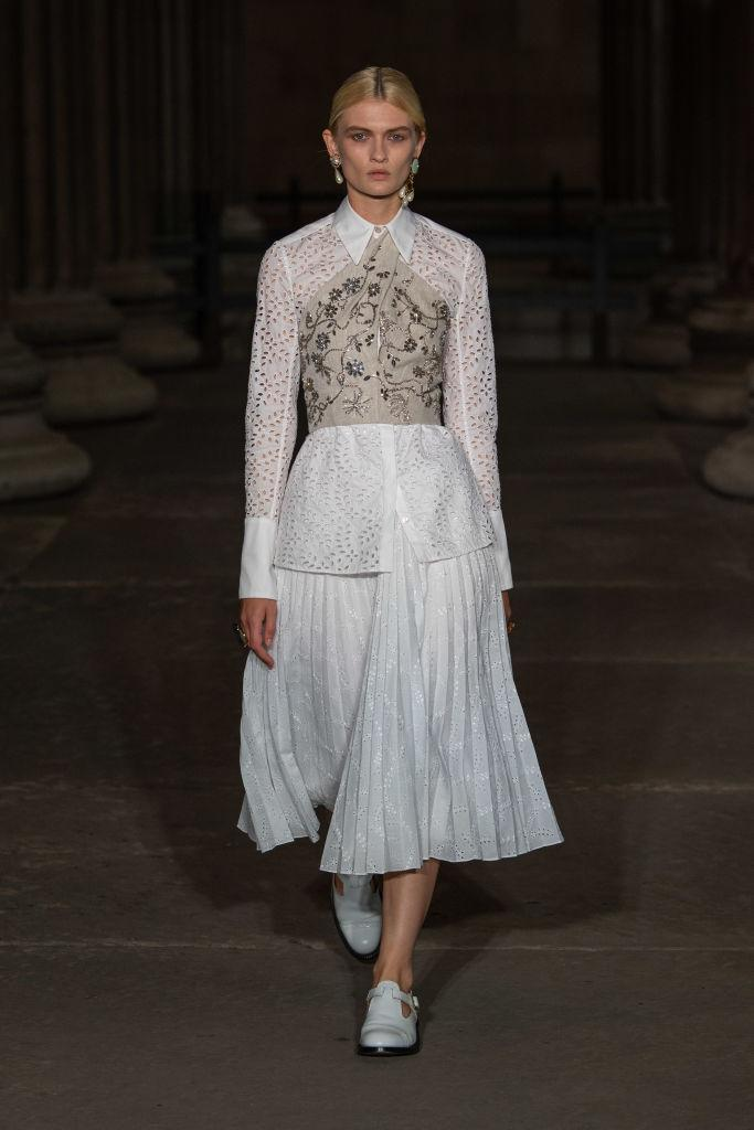 Raducanu's look was straight off the Erdem Ready to Wear Spring/Summer 2022 catwalk at LFW. (Getty Images)