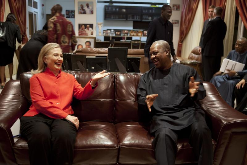 U.S. Secretary of State Hillary Rodham Clinton, left, meets with Ghana's President John Dramani Mahama, at his residence in Accra, Ghana, on Thursday, Aug. 9, 2012. On Friday Clinton will attend the funeral of Ghana's late President John Atta Mills, as part of a Presidential Delegation from the United States. (AP Photo/Jacquelyn Martin, Pool)