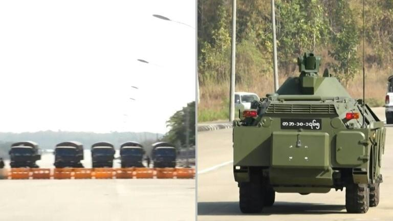 The military presence has been beefed up in Myanmar's capital, with soldiers and vehicles along the streets