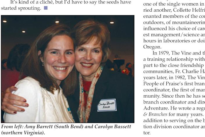 In this page from the May 2006 issue of Vine and Branches produced by People of Praise, Amy Coney Barrett is seen at left in the photo at a People of Praise Leaders' Conference for Women in 2006 - People of Praise