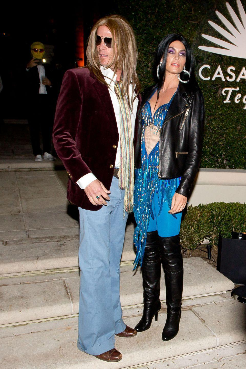 <p>Cindy Crawford and Rande Gerber as Cher and Greg Allman.</p>