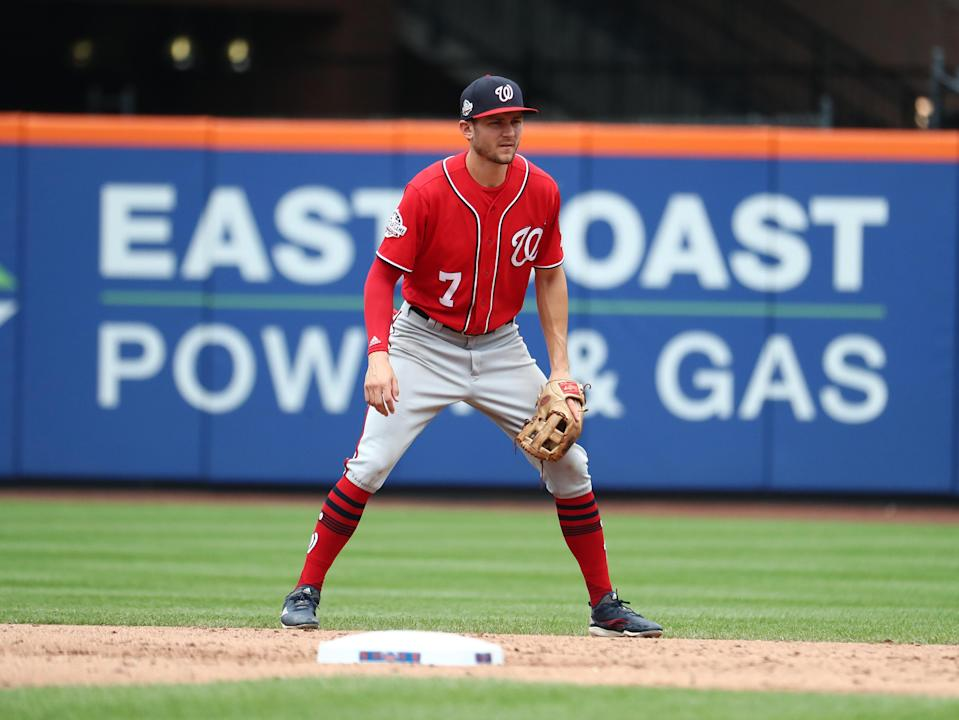 Multiple old tweets from Washington Nationals shortstop Trea Turner surfaced on Sunday afternoon that contained racist and homophobic language. (Getty Images)