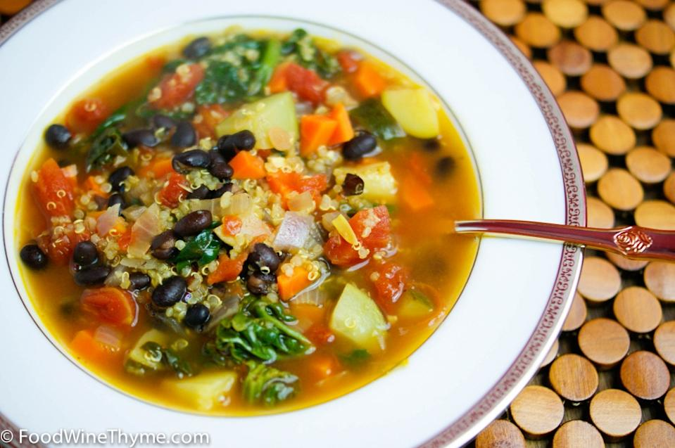 """Photo: Food Wine Thyme<br> Winter Vegetable Soup<br><br> Kathy simmers a bowl of soup that's as vibrant as it is comforting, chock full of wholesome, health-giving ingredients. Even her skeptical husband was swayed!<br><br> Recipe: <a href=""""http://foodwinethyme.com/winter-vegetable-soup/"""" rel=""""nofollow noopener"""" target=""""_blank"""" data-ylk=""""slk:Winter Vegetable Soup"""" class=""""link rapid-noclick-resp"""">Winter Vegetable Soup</a>"""