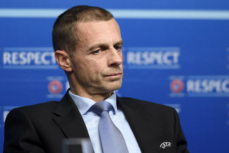 <p>Uefa's Aleksander Ceferin took a strong stance against the Super League earlier this week</p> (AFP via Getty Images)