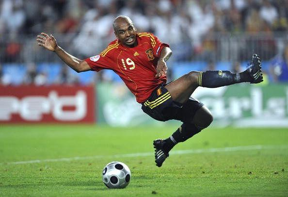 Spanish midfielder Marcos Senna jumps fo