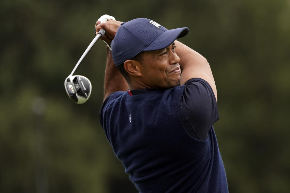 Tiger Woods hits from the 10th tee during the third round of the Zozo Championship golf tournament Saturday, Oct. 24, 2020, in Thousand Oaks, Calif. (AP Photo/Marcio Jose Sanchez)