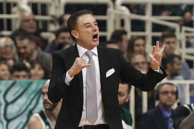 Rick Pitino felt right at home during his debut in the EuroLeague with Panathinaikos on Friday. (Ayhan Mehmet/Getty Images)