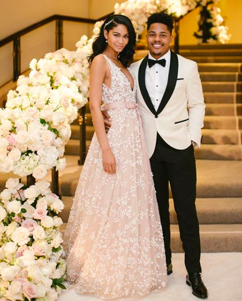 <p>Model Chanel Iman wed Sterling Shepherd in a seriously embellished gown and co-ordinating veil by Zuhair Murad on March 3. She later changed into a second dress by the Lebanese designer (this time in a powder pink), as the couple danced the night away at the Beverley Hills Hotel. <em>[Photo: Instagram]</em> </p>