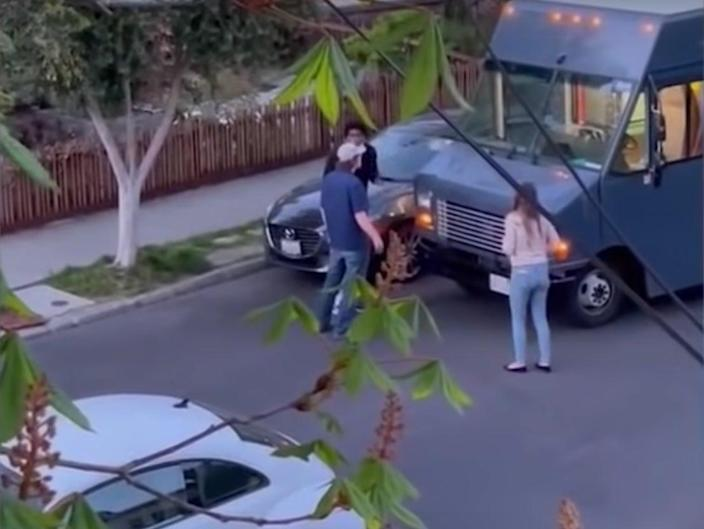 An Amazon delivery driver was subjected to racial abuse after being accused of speeding by a couple in Berkeley, California.  (KRON4)