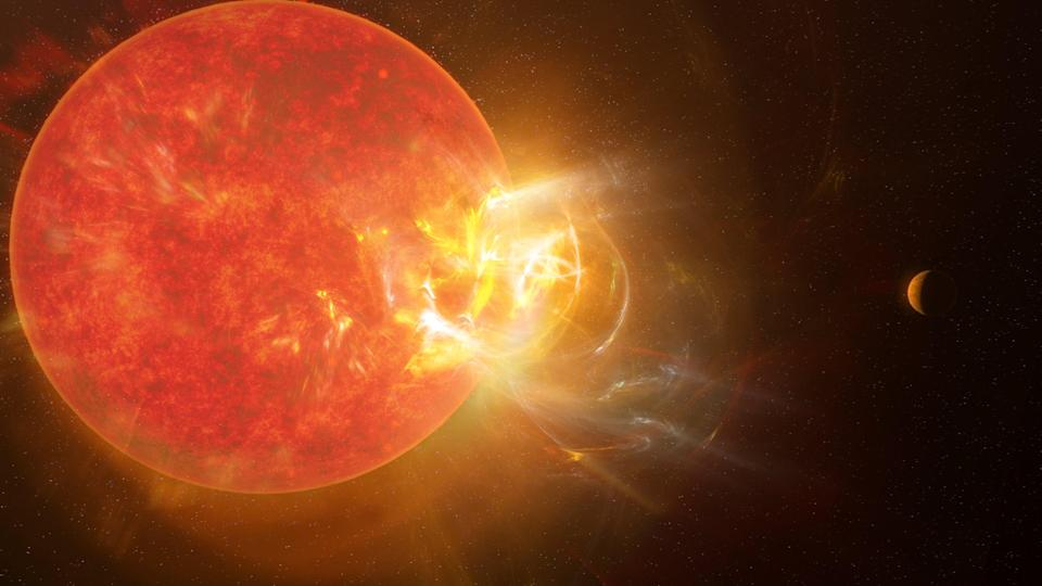 Artist's conception of the violent stellar flare from Proxima Centauri discovered by scientists in 2019 using nine telescopes across the electromagnetic spectrum, including the Atacama Large Millimeter/submillimeter Array (ALMA) (NRAO/S. Dagnello)