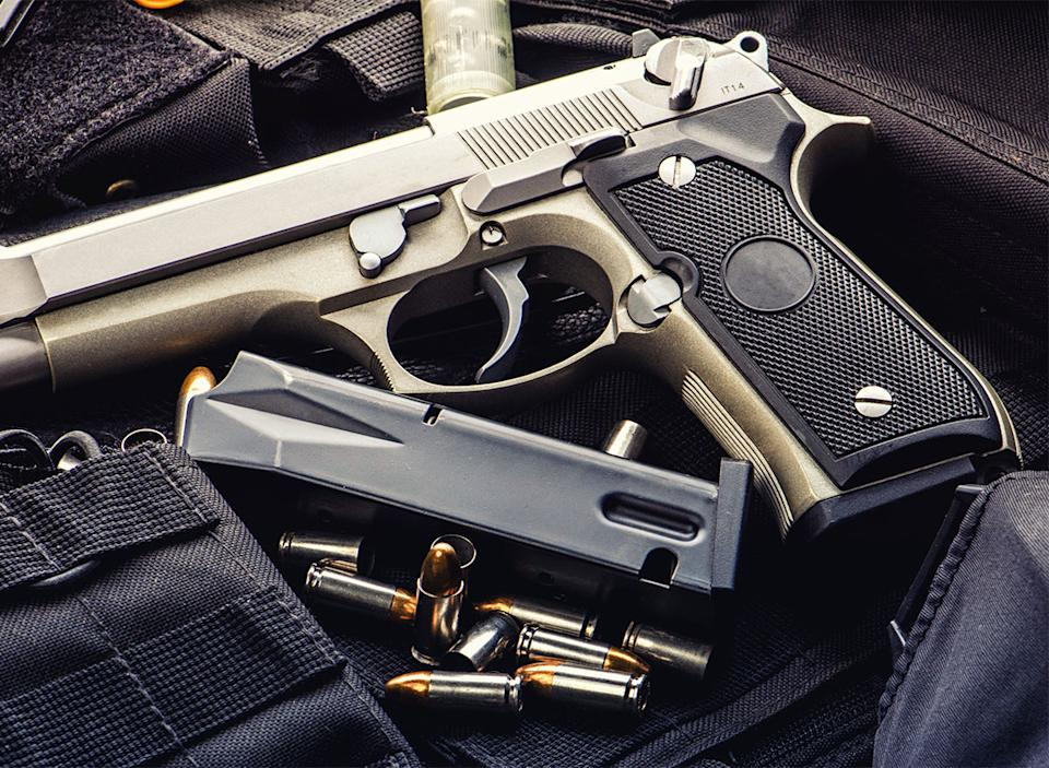 pistol with bullets
