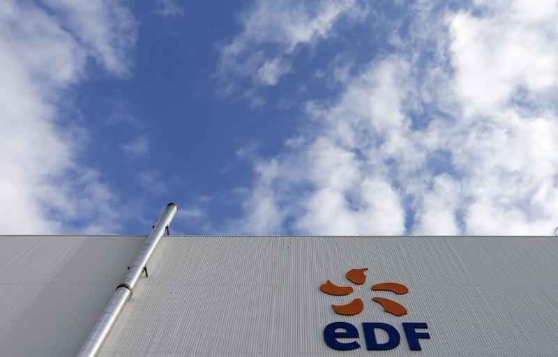The logo of French state-owned electricity company EDF is seen on the France's oldest nuclear power station of Fessenheim