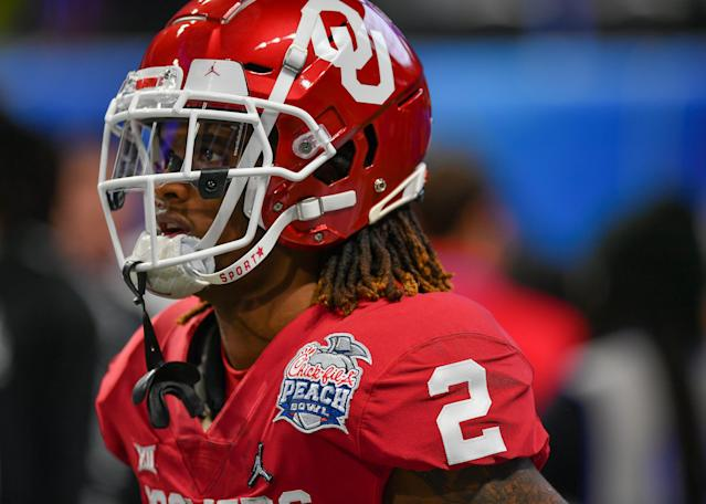 Oklahoma WR CeeDee Lamb is trying to prove at the NFL combine that he's the top receiver available. (Photo by Rich von Biberstein/Icon Sportswire via Getty Images)
