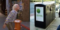 """<p>Littering is discouraged in the fictional future of 2015, to the degree that robotic mobile trashcans — called Litter Bugs — prowl the streets and follow pedestrians in a kind of preemptive-strike strategy. </p><p>We don't have roving garbage bots yet, but the old-school city trash can is actually getting pretty sophisticated in certain municipalities. The waste management company Bigbelly has deployed <a href=""""http://bigbelly.com/solutions/stations/"""" rel=""""nofollow noopener"""" target=""""_blank"""" data-ylk=""""slk:""""smart"""" trash cans"""" class=""""link rapid-noclick-resp"""">""""smart"""" trash cans</a> — including recycling and compost bins — in several major cities. The high-tech waste stations feature solar-powered compactors and networked sensors for communicating with trash trucks. Some are even being outfitted as urban Wi-fi hotspots. </p>"""
