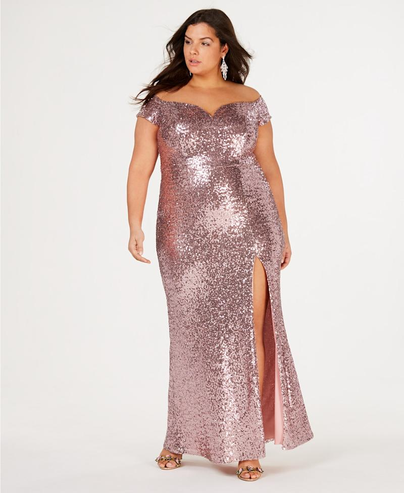 150ee5ad48 B Darlin Off-The-Shoulder Sequin Gown (Photo  Macy s)