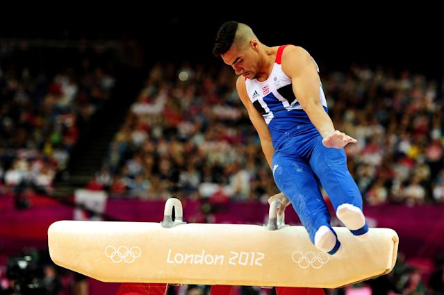 LONDON, ENGLAND - JULY 28: Louis Smith of Great Britain competes in the pommel horse for the qualification of the Artistic Gymnastics Men's Team on day one of the London 2012 Olympic Games at North Greenwich Arena on July 28, 2012 in London, England. (Photo by Mike Hewitt/Getty Images)
