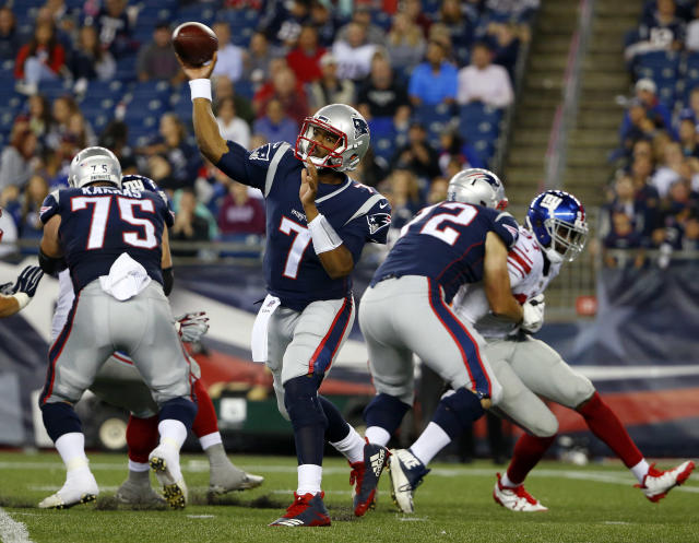 Jacoby Brissett was traded by the Patriots to the Colts on Saturday afternoon. (AP)