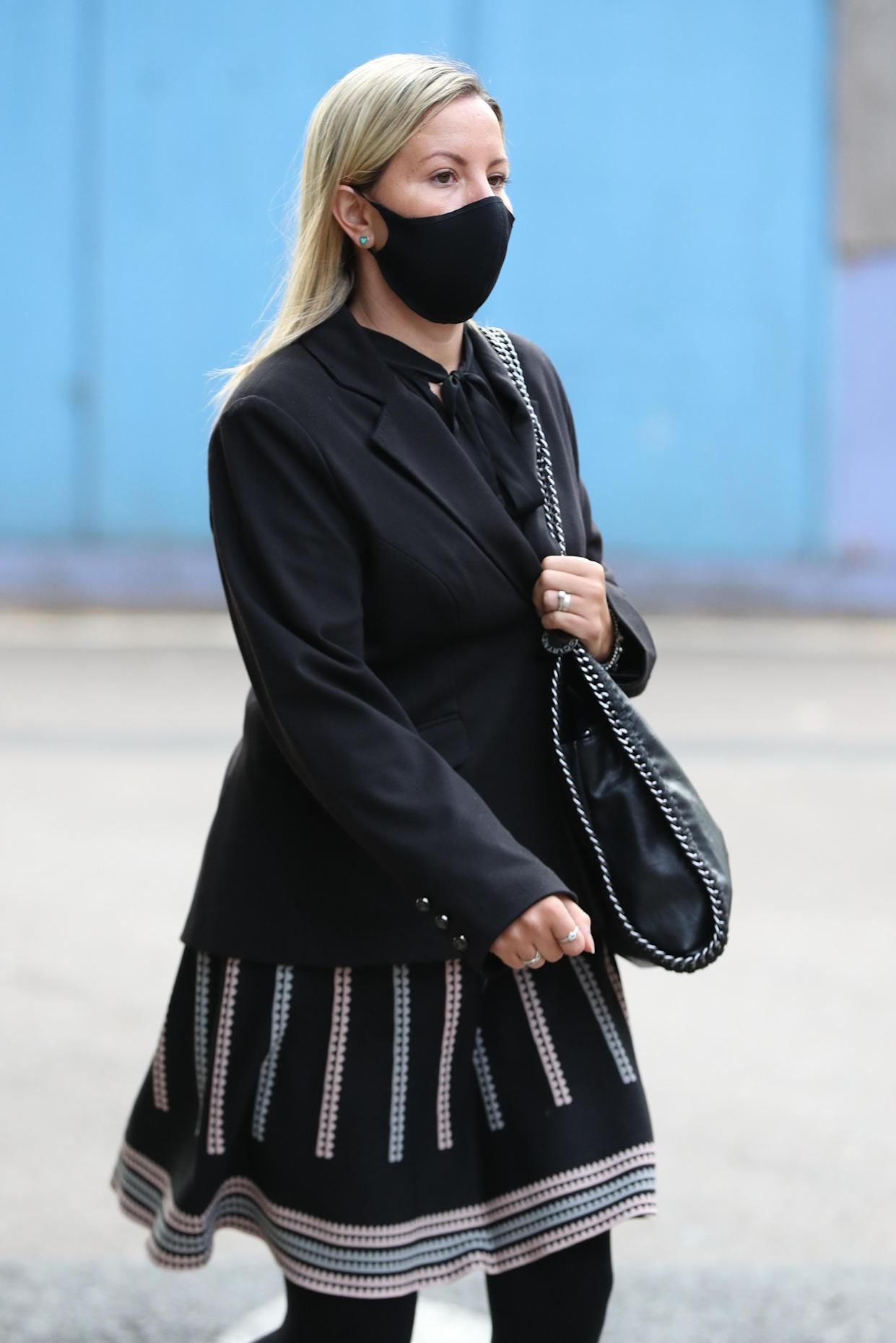 Teacher Kandice Barber, 35, arrives at Aylesbury Crown Court, Buckinghamshire, where she is appearing accused of engaging in illegal sexual activity with a 15-year-old boy.