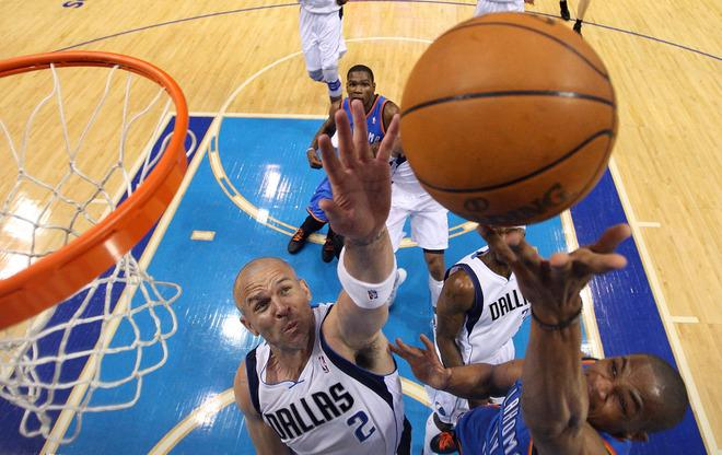 DALLAS, TX - MAY 05:  Russell Westbrook #0 of the Oklahoma City Thunder takes a shot against Jason Kidd #2 of the Dallas Mavericks during Game Four of the Western Conference Quarterfinals in the 2012 NBA Playoffs at American Airlines Center on May 5, 2012 in Dallas, Texas. NOTE TO USER: User expressly acknowledges and agrees that, by downloading and or using this photograph, User is consenting to the terms and conditions of the Getty Images License Agreement.  (Photo by Ronald Martinez/Getty Images)
