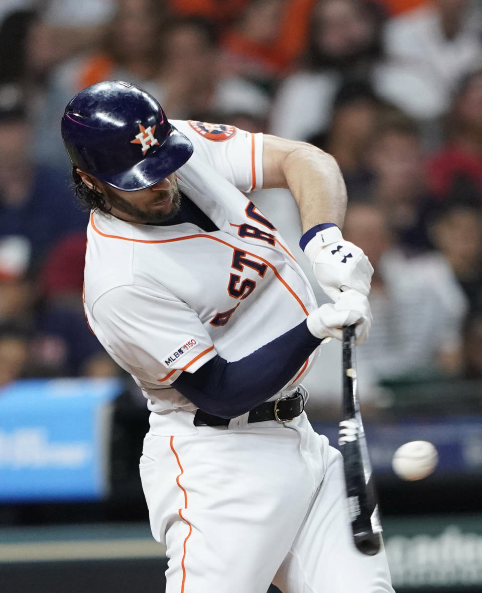 Houston Astros' Jake Marisnick grounds into a triple play during the third inning of the team's baseball game against the Chicago White Sox on Wednesday, May 22, 2019, in Houston. (AP Photo/David J. Phillip)