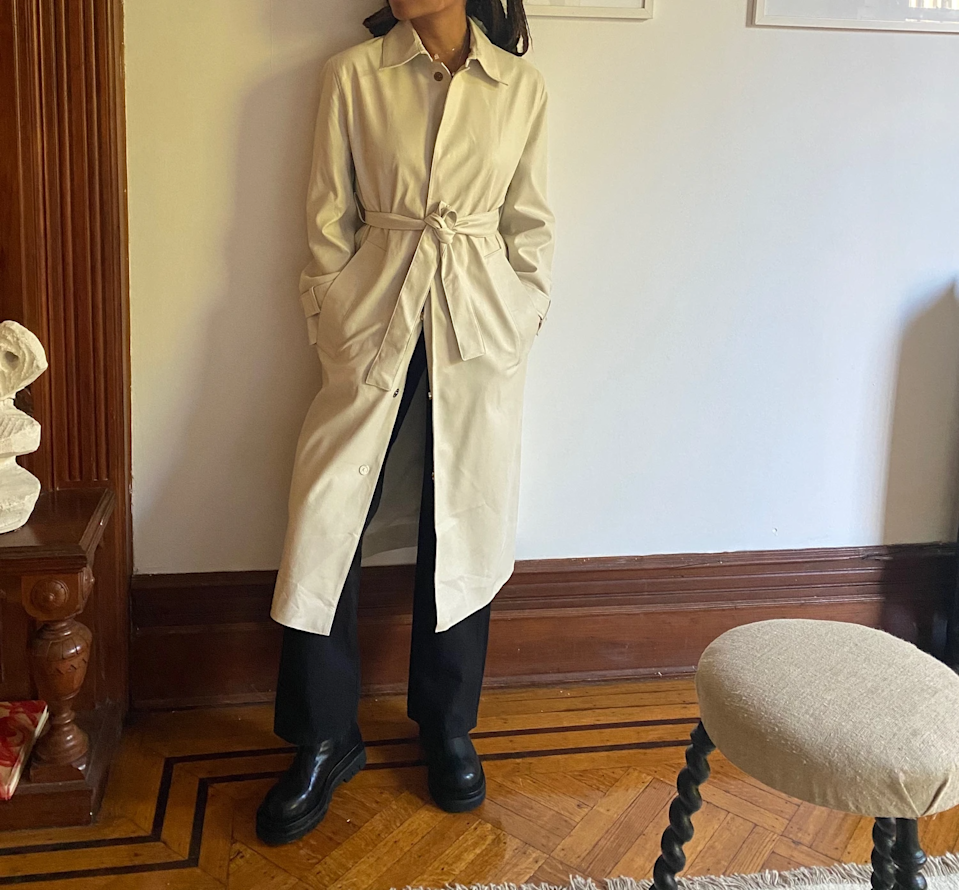 "<br><br><strong>Sincerely Tommy</strong> Fiona Trench Coat, $, available at <a href=""https://go.skimresources.com/?id=30283X879131&url=https%3A%2F%2Fsincerelytommy.com%2Fcollections%2Fouterwear%2Fproducts%2Fivory-fiona-trench-coat"" rel=""nofollow noopener"" target=""_blank"" data-ylk=""slk:Sincerely Tommy"" class=""link rapid-noclick-resp"">Sincerely Tommy</a>"