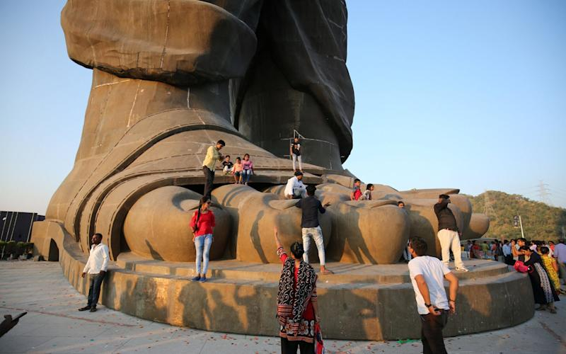 Tourists visiting the Statue of Unity
