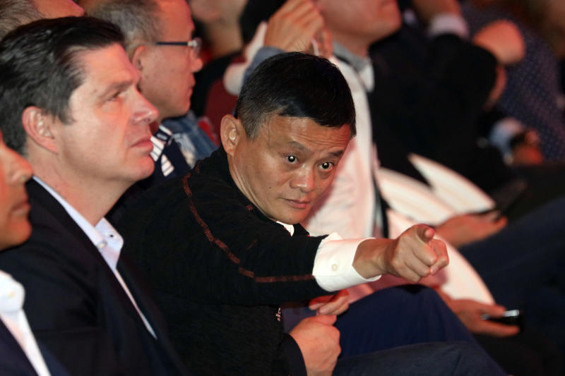 Jack Ma, Alibaba's chairman, attends the countdown to Alibaba's 11.11 Global Shopping Festival held in Shanghai, China, Saturday, Nov. 10, 2018. What started out ten years ago as a day of online promotion with US$7.8million in sales has grown into the world's biggest e-commerce event generating US$25.3billion in 2017. (AP Photo/Ng Han Guan)