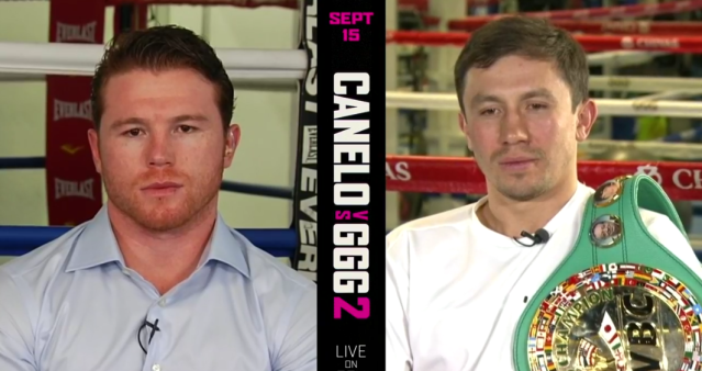 Canelo Alvarez and Gennady Golovkin showed little emotion during a news conference streamed on Facebook. (Screenshot via Facebook)