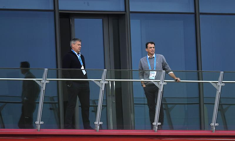 England director of cricket Ashley Giles and ECB chief Tom HarrisonGetty Images