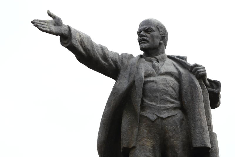 That Lenin statue was move behind the main square ok Bishkek. It was replaced by a statue of Manas.