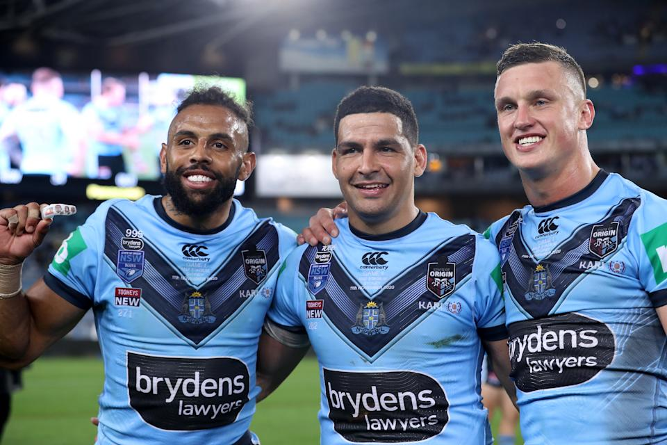 Josh Addo-Carr, Cody Walker and Jack Wighton pose after winning game two of the 2020 State of Origin series.