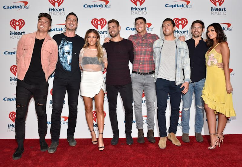 Bachelor contestants at an event