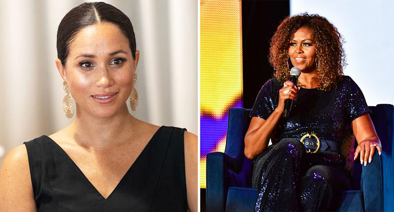 Michelle Obama has praised Meghan Markle's humanitarian work. [Photo: Getty]