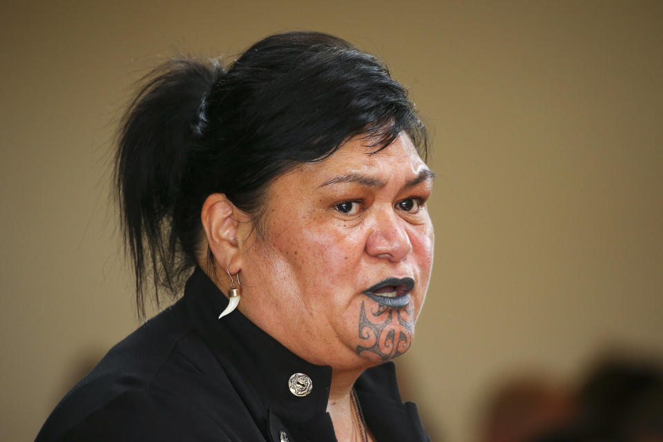 Minister of Foreign Affairs, Nanaia Mahuta, speaks during a welcoming powhiri for APEC 2021 on 1 December in Wellington, New Zealand. Photo: Hagen Hopkins/Getty Images