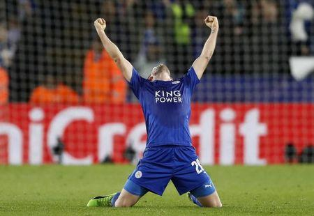 Leicester City's Christian Fuchs celebrates after the game