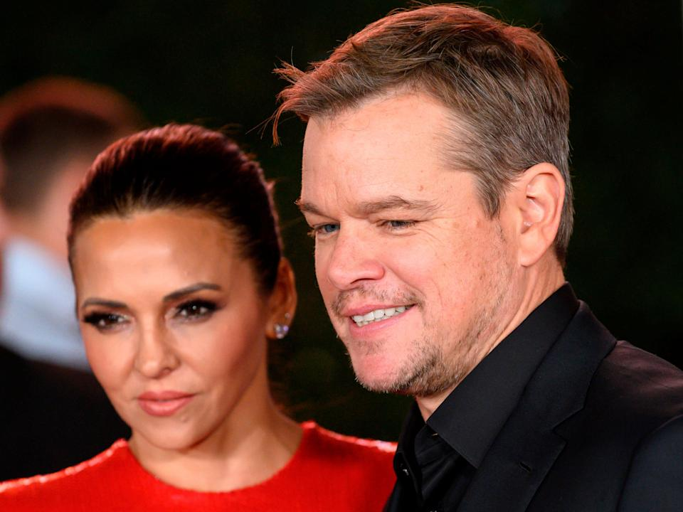 """Matt Damon and wife Luciana Barroso arrive for the premiere of """"Ford v Ferrari."""" They brought the whole family."""