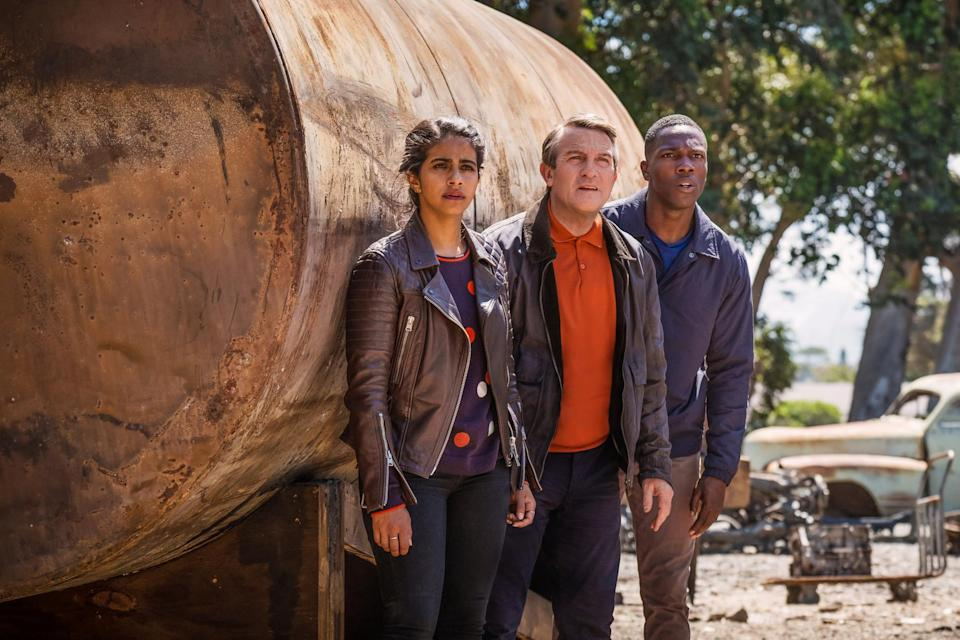 Mandip Gill, Bradley Walsh and Tosin Cole in Doctor Who: Rosa (BBC)