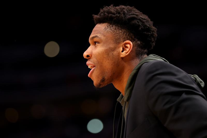 Milwaukee Bucks superstar Giannis Antetokounmpo has been the NBA's most dominant player on both sides of the ball this season. (Jamie Schwaberow/Getty Images)