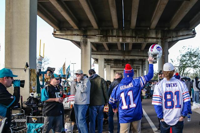 <p>Buffalo Bills fans during the AFC Wild Card game between the Buffalo Bills and the Jacksonville Jaguars on January 7, 2018 at EverBank Field in Jacksonville, Fl. (Photo by David Rosenblum/Icon Sportswire via Getty Images) </p>