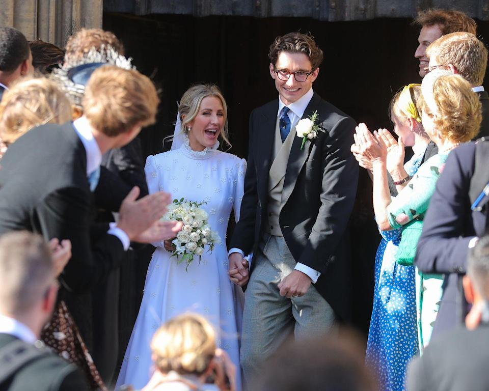 <p>Singer Ellie Goulding married Caspar Jopling at York Minster in a silk crêpe gown designed by Natacha Ramsay-Levi for Chloé in 2019. The dress is covered in hand-embroidered White Rose of York symbols, and reportedly took 640 hours to make.</p>