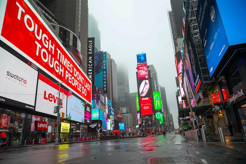Times Square is seen empty in New York, United States on March 29, 2020. New York's famous Times Square has been on sleep due to Covid-19 pandemic. (Tayfun Coskun/Anadolu Agency via Getty Images)