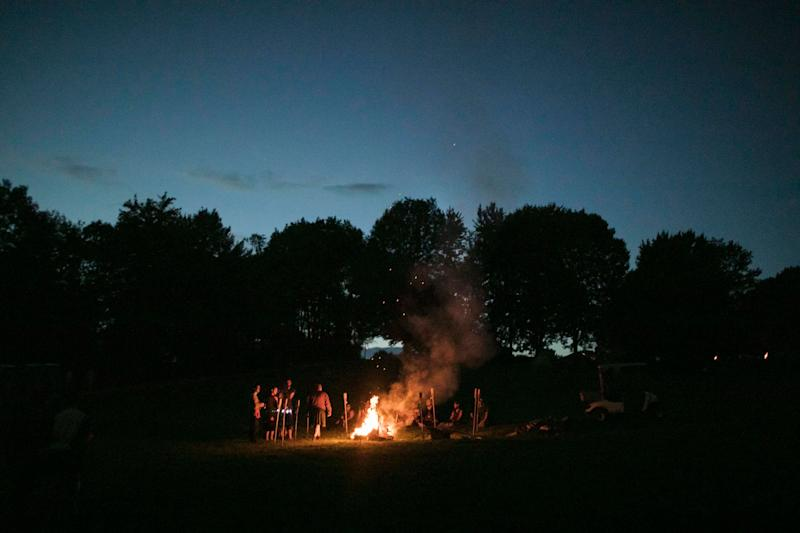 A bonfire rages after dark at Ragnarok.  (Photo: Maddie McGarvey for HuffPost)