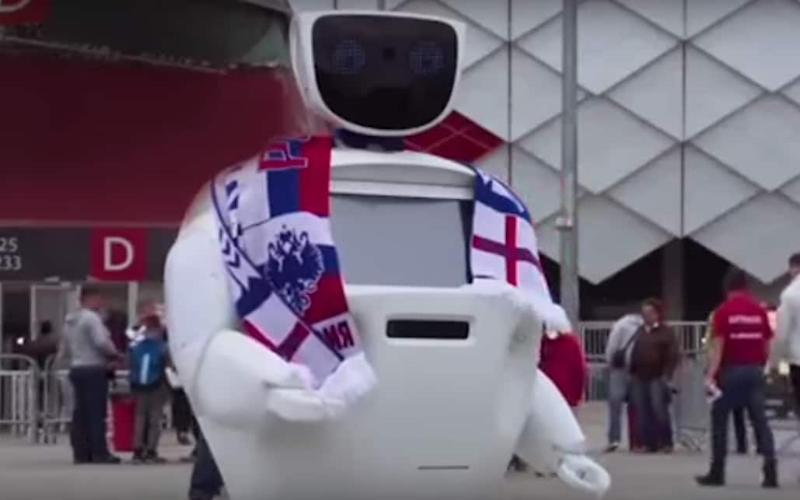 Known as AlanTim, the robot is intended to reassure fans at the tournament - Newschapl/YouTube