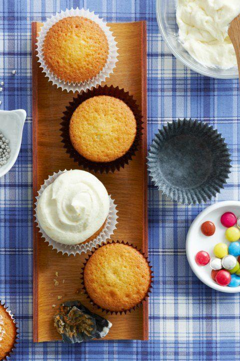 """<p>Nothing beats a classic, but perhaps the best thing about these vanilla cupcakes is that you can be as inventive with the decorations as you want. Candy, sprinkles, frosting—anything goes!</p><p><strong><a href=""""https://www.womansday.com/food-recipes/food-drinks/recipes/a12444/vanilla-cupcakes-recipe-wdy0514/"""" rel=""""nofollow noopener"""" target=""""_blank"""" data-ylk=""""slk:Get the recipe."""" class=""""link rapid-noclick-resp"""">Get the recipe.</a></strong></p><p><strong>RELATED: <a href=""""https://www.womansday.com/food-recipes/food-drinks/g1656/cupcake-ideas/"""" rel=""""nofollow noopener"""" target=""""_blank"""" data-ylk=""""slk:18 Crazy-Creative Cupcake Ideas"""" class=""""link rapid-noclick-resp"""">18 Crazy-Creative Cupcake Ideas</a></strong></p>"""
