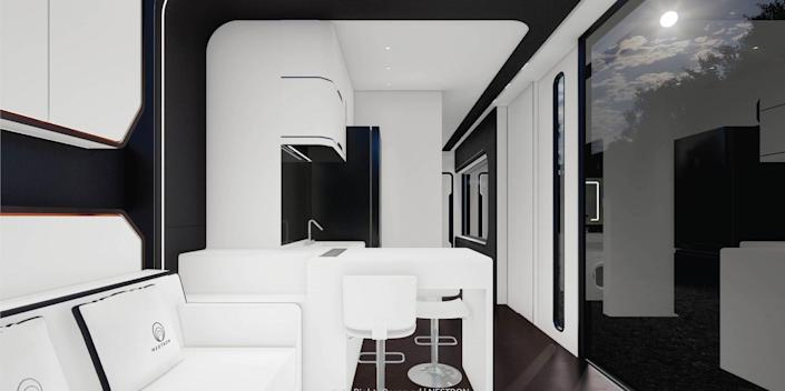 rendering of the two-bedroom Cube Two X kitchen and hallway