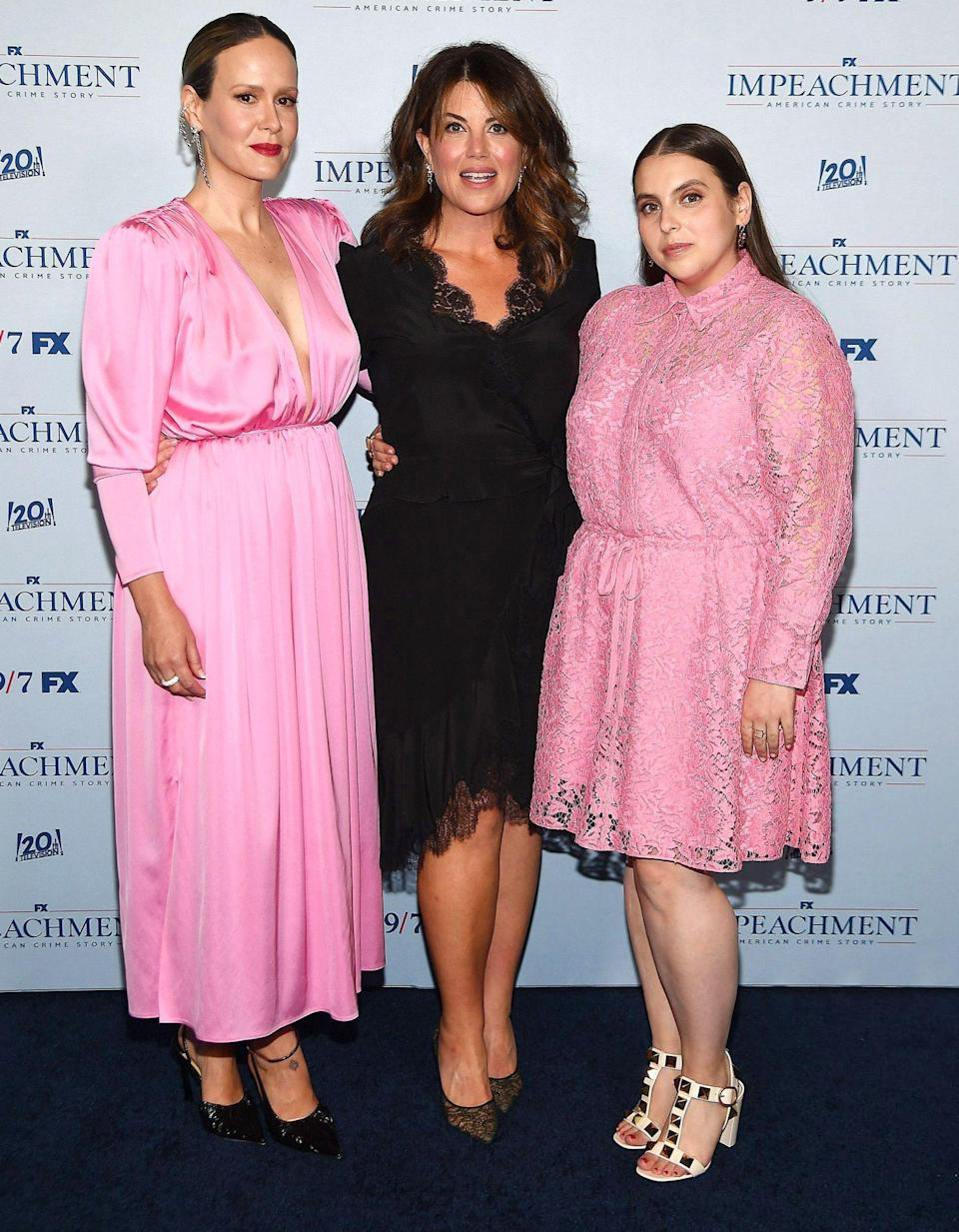 <p>Sarah Paulson, Monica Lewinsky and Beanie Feldstein pose at the special screening of FX's <em>Impeachment: American Crime Story</em> in N.Y.C. on July 26. </p>