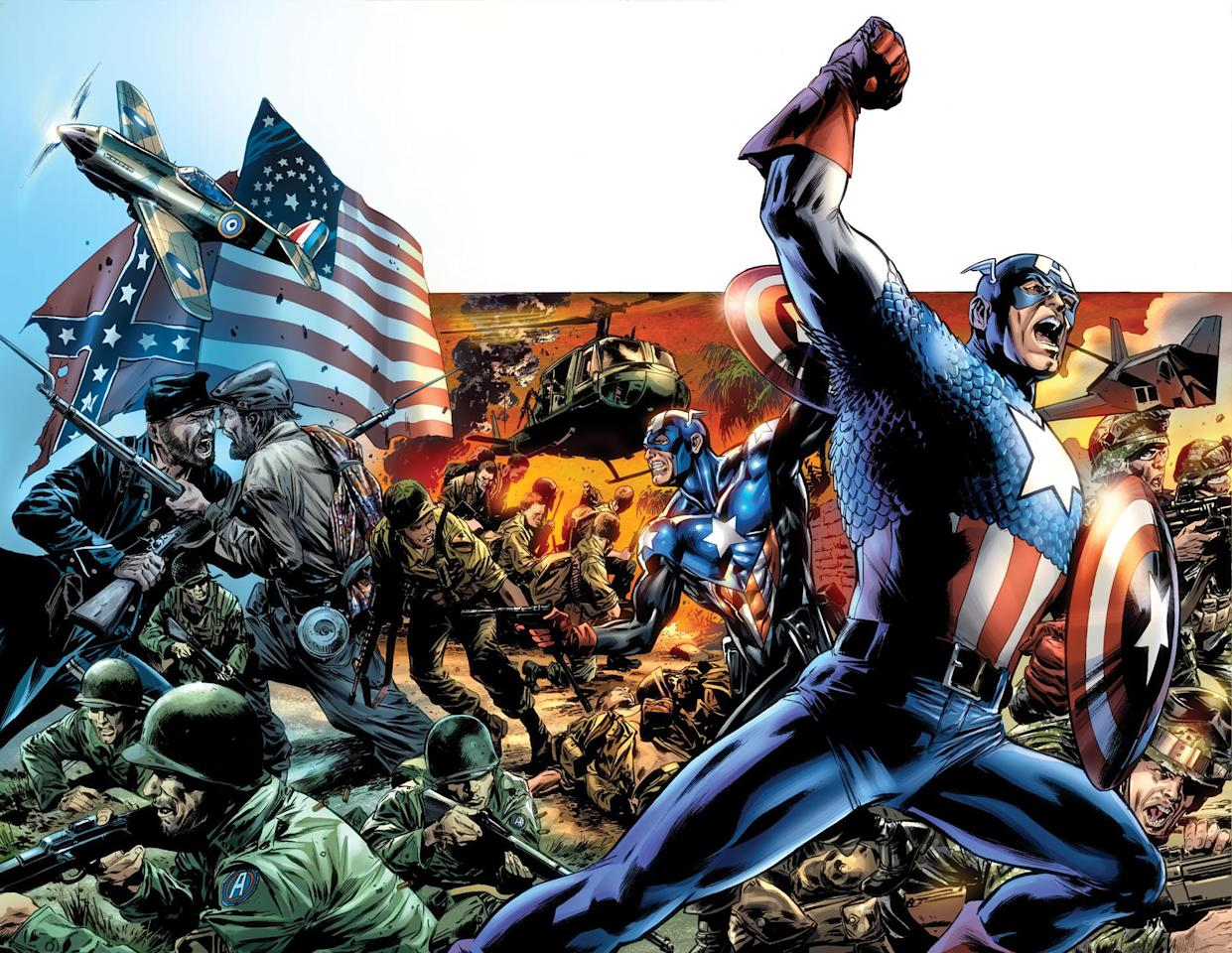 "In this comic book image released by Marvel Comics, Captain America is shown  from, ""Captain America Reborn,"" a five part series from Marvel Comics, available in stores on July 1, 2009. (AP Photo/Marvel Comics) ** NO SALES **"