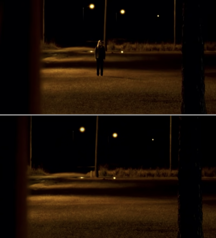 A person standing outside and then disappearing