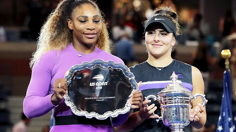 Bianca Andreescu and Serena Williams, pictured here after the 2019 US Open final.